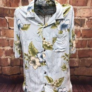CARIBBEAN JOE Blue Floral Short Sleeve Shirt L